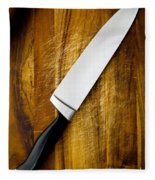 Knife On Chopping Board Fleece Blanket