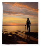 Knight At Sunrise Fleece Blanket