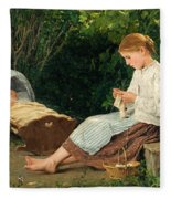 Knitting Girl Watching The Toddler In A Craddle Fleece Blanket