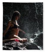Knowledge. Anna At Eureka Waterfalls. Mauritius Fleece Blanket