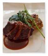 Kobe Beef With Spring Spinach And A Wild Mushroom Bread Pudding Fleece Blanket