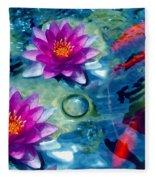 Koi And The Water Lilies Fleece Blanket