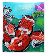 Koi Fish And Water Lily Fleece Blanket