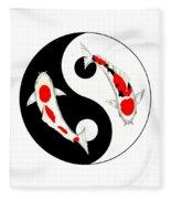 Koi Kohaku And Taisho Sanke Yin Yang Painting Fleece Blanket