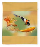 Koi With Azalea Ripples Dreamscape Fleece Blanket