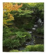 Kokoen Garden Waterfall - Himeji Japan Fleece Blanket