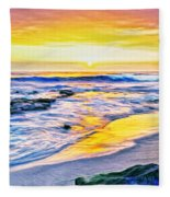 Kona Coast Sunset Fleece Blanket