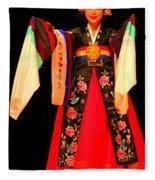 Korean Woman Dancer Fleece Blanket