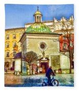 Krakow Main Square Old Town  Fleece Blanket