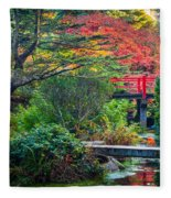 Kubota Gardens In Autumn Fleece Blanket