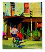 Kusmi Tea And Sandwich Shop St Viateur Corner St Urbain Montreal Summer City Scene  Carole Spandau Fleece Blanket