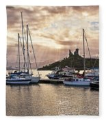 Kyleakin Harbor And Castle Moil Fleece Blanket