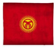 Kyrgyzstan Flag Vintage Distressed Finish Fleece Blanket