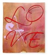 L O V E Script With Heart Fleece Blanket