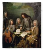 La Barre And Other Musicians, C.1710 Oil On Canvas Fleece Blanket