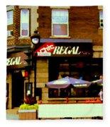 La Chic Regal Taverne Au Coin Rue Centre Et Charlevoix Pointe St Charles Scene De Rue Carole Spandau Fleece Blanket