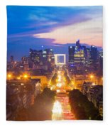 La Defense And Champs Elysees At Sunset In Paris France Fleece Blanket