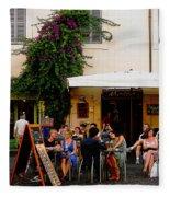 La Dolce Vita At A Cafe In Italy Fleece Blanket