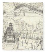 La Gare Saint Lazare Fleece Blanket