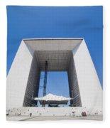 La Grande Arch In La Defense Business District Paris France Fleece Blanket