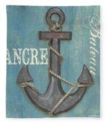 La Mer Ancre Fleece Blanket by Debbie DeWitt