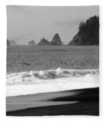 La Push Beach Black And White Fleece Blanket