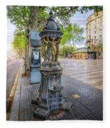 La Rambla Fountain  Fleece Blanket