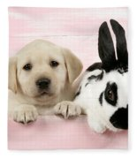 Lab Puppy And Bunny Fleece Blanket
