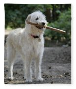 Labradoodle Holding Stick Fleece Blanket