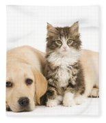 Labrador And Forest Cat Fleece Blanket