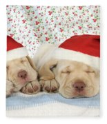 Labrador Puppy Dogs Wearing Christmas Fleece Blanket