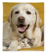 Labrador With Cat Fleece Blanket