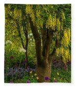 Laburnum Tree In Bloom Fleece Blanket