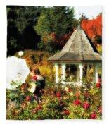 Ladies In Rose Garden Fleece Blanket