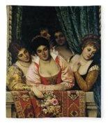Ladies On A Balcony Fleece Blanket