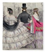 Ladies Wearing Crinolines At The Royal Italian Opera Fleece Blanket