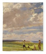 Lady Astor Playing Golf At North Berwick Fleece Blanket