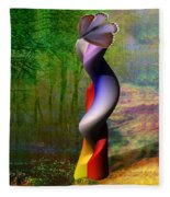 Lady At The Pond With Butterfly Fleece Blanket