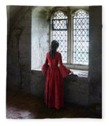 Lady By The Window Fleece Blanket