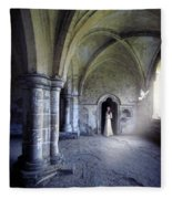 Lady In Abbey Room With Doves Fleece Blanket