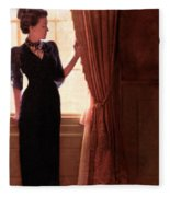 Lady In Black By Window Fleece Blanket