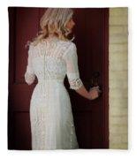 Lady In Edwardian Dress Opening A Door Fleece Blanket