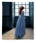 Lady In Purple Gown By Window Fleece Blanket