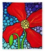 Lady In Red - Poppy Flower Art By Sharon Cummings Fleece Blanket