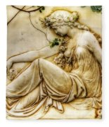 Lady In Robe And Roses Fleece Blanket