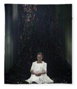 Lady In The Woods Fleece Blanket