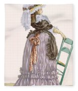 Lady Leaning On Chair, Engraved Fleece Blanket