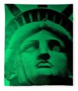 Lady Liberty In Copper Green Fleece Blanket