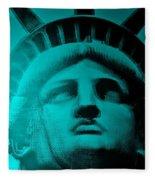 Lady Liberty In Turquoise Fleece Blanket