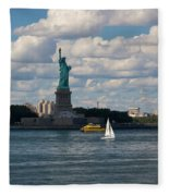 Lady Liberty With Sailboat And Water Taxi Fleece Blanket